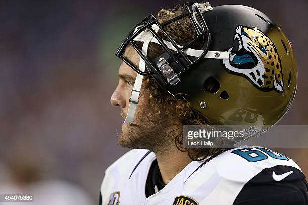Mike Brewster of the Jacksonville Jaguars watches the action from the sidelines during the preseason game against the at Ford Field on August 22 2014...