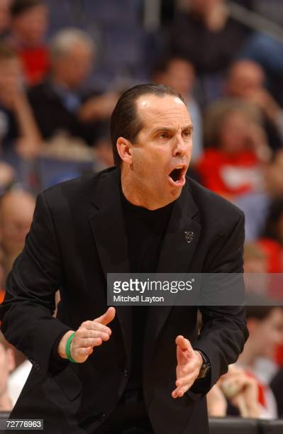 Mike Brey head coach of the Notre Dame Fighting Irish during the BBT Classic college basketball game against Maryland Terrapins at Verizon Center on...