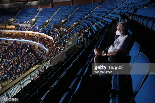 Mike Brooks sits in the upper seats ahead of a campaign rally for U.S. President Donald Trump at the BOK Center, June 20, 2020 in Tulsa, Oklahoma....