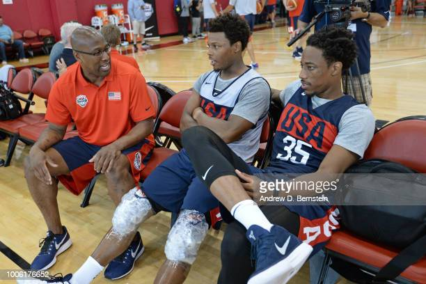 Mike Brown Kyle Lowry and DeMar DeRozan talk during USAB Minicamp Practice at Mendenhall Center on the University of Nevada Las Vegas campus on July...