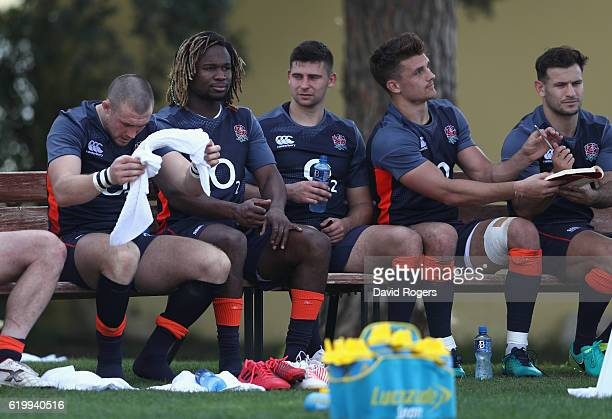 Mike Brown Marland Yarde Ben Youngs Henry Slade and Danny Care take a break after the England training session held at Brown's Sport Complex on...