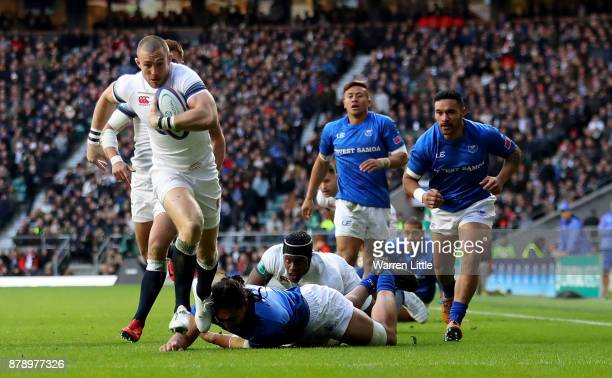 Mike Brown of England crosses for the first try during the Old Mutual Wealth Series match between England and Samoa at Twickenham Stadium on November...