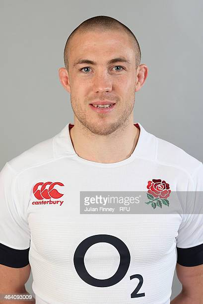 Mike Brown of England poses for a portrait during the England Six Nations Squad Photo Call at the Penny Hill Hotel on January 20 2014 in Bagshot...