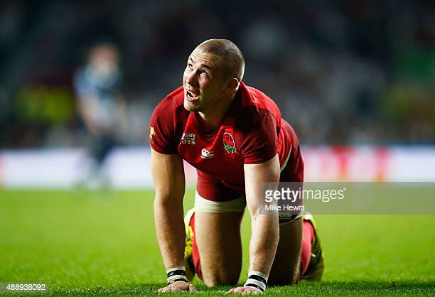 Mike Brown of England reacts after scoring their third try during the 2015 Rugby World Cup Pool A match between England and Fiji at Twickenham...