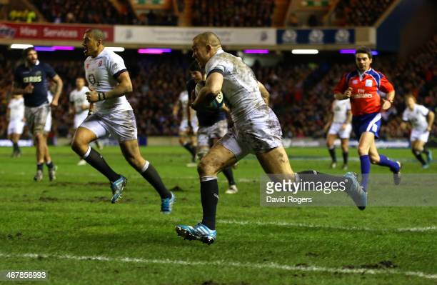 Mike Brown of England runs through to score a try during the RBS Six Nations match between Scotland and England at Murrayfield Stadium on February 8...