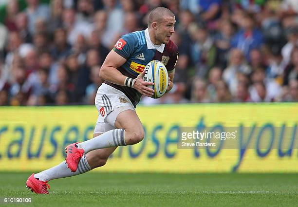 Mike Brown of Harlequins in action during the Aviva Premiership match between Harlequins and Saracens at Twickenham Stoop on September 24, 2016 in...