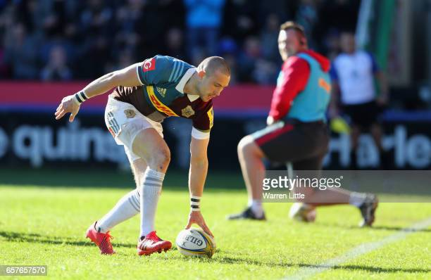Mike Brown of Harlequins scores a try during the Aviva Premiership match between Harlequins and Newcastle Falcons at Twickenham Stoop on March 25...