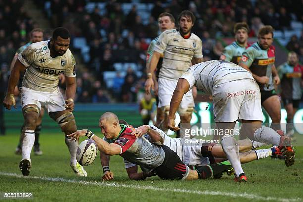 Mike Brown of Harlequins spills the ball as he crosses the tryline during the European Rugby Challenge Cup pool three match between Harlequins and...