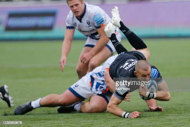 Mike Brown of Newcastle Falcons is tackled during the Gallagher Premiership match between Newcastle Falcons and Bristol at Kingston Park, Newcastle...