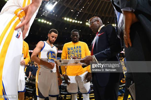 Mike Brown of the Golden State Warriors coaches his team during the game against the Utah Jazz during Game Two of the Western Conference Semifinals...