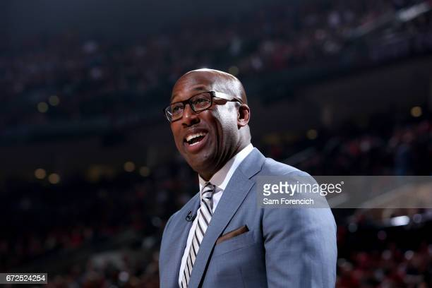 Mike Brown of the Golden State Warriors smiles during the game against the Portland Trail Blazers during Game Four of the Western Conference...