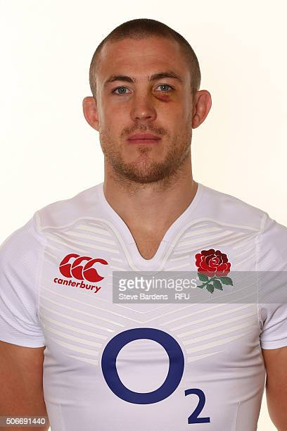 Mike Brown poses during the England EPS Six Nations Squad Portrait session at Pennyhill Park on January 25 2016 in Bagshot England