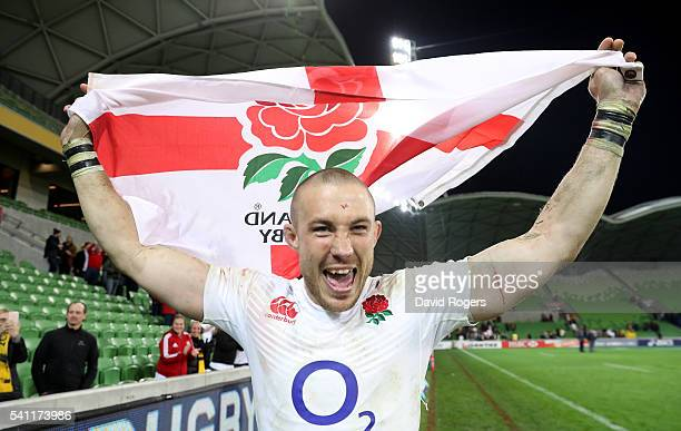 Mike Brown the England fullback celebrates after their victory during the International Test match between the Australian Wallabies and England at...