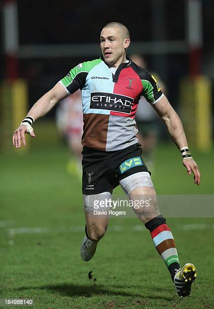 Mike Brown the Harlequins fullback looks on during the Aviva Premiership match between Gloucester and Harlequins at Kingsholm Stadium on March 29...