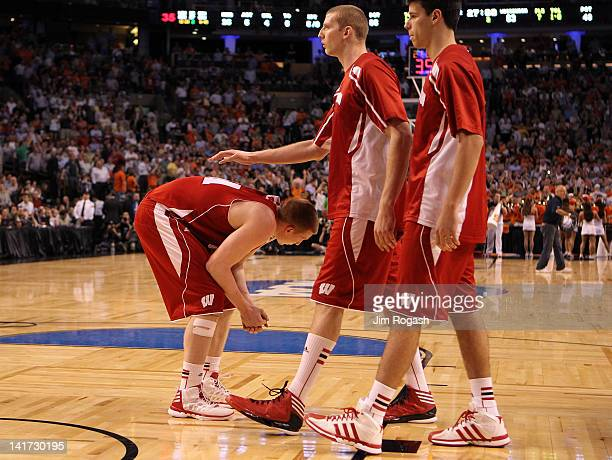 Mike Bruesewitz of the Wisconsin Badgers reacts after losing against the Syracuse Orange during their 2012 NCAA Men's Basketball East Regional...