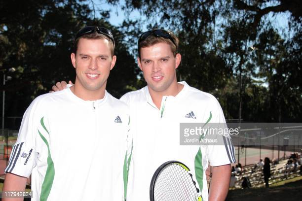 Mike Bryan and Bob Bryan during The Bryan Brothers Rackets Stars Guitars at Palisades Tennis Center in Pacific Palisades California United States