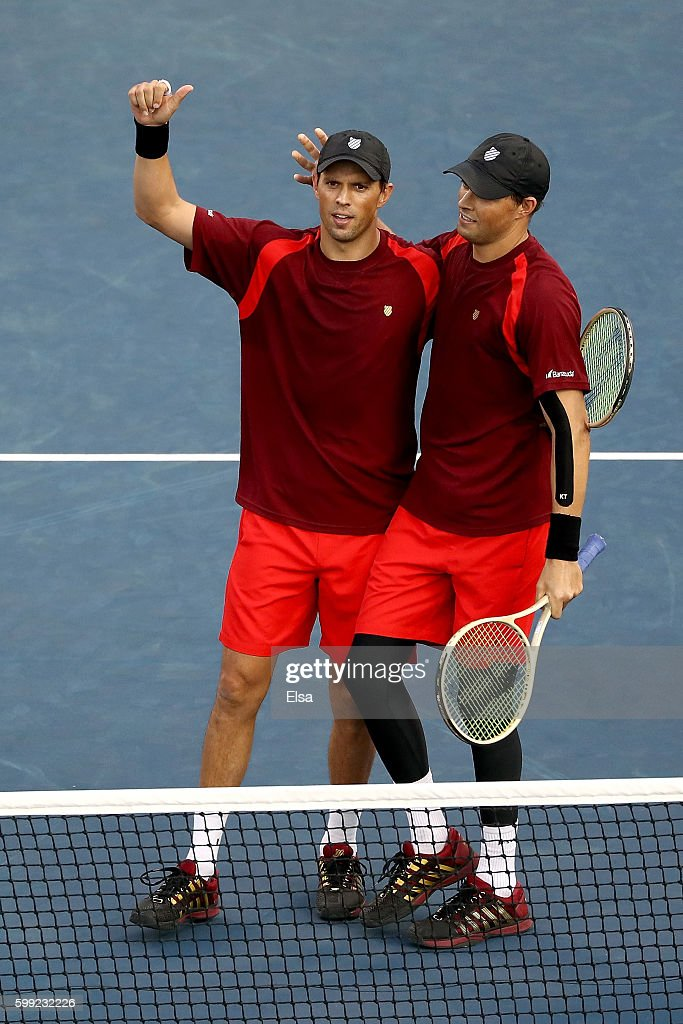 Mike Bryan and Bob Bryan of the United States in action against David Marrero and Fernando Verdasco of Spain during his third round Men's Singles match on Day Seven of the 2016 US Open at the USTA Billie Jean King National Tennis Center on September 4, 2016 in the Flushing neighborhood of the Queens borough of New York City.