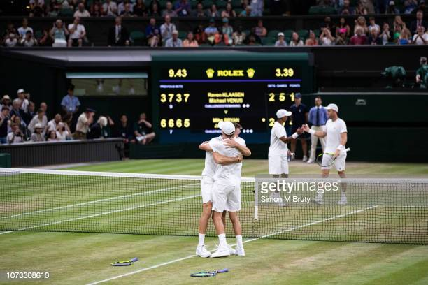 Mike Bryan and Jack Sock of USA win the Men's Doubles Final against Raven Klaasen of South Africa and Michael Venus of New Zealand The Wimbledon Lawn...