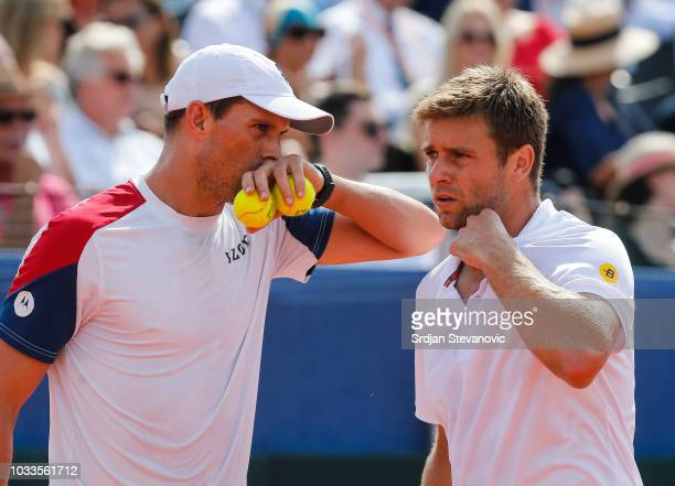 Mike Bryan and Ryan Harrison of USA talk during day two of the Davis Cup World Group semi final doubles match between Croatia and USA at Visnjik...