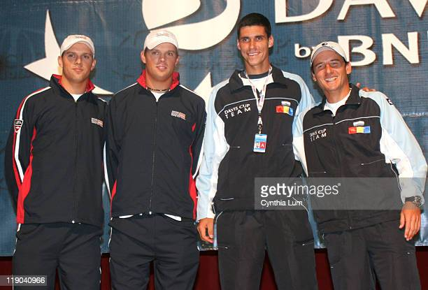 Mike Bryan Bob Bryan USA Victor Hanescu Andrei Pavel The USTA held the Draw Ceremony for the Davis Cup by BNP Paribas first round between the US and...