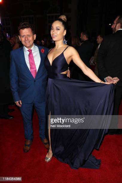 Mike Bushell and Katya Jones arrive on the red carpet of Pride of Britain 2019 at Grosvenor House Hotel on October 28 2019 in London England
