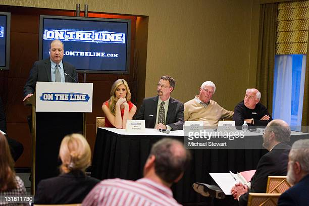 Mike Byrd Erin Andrews Steven Andrews Bob Knight and Billy Packer attend the 'ON THE LINE' prostate cancer awareness campaign press conference at The...