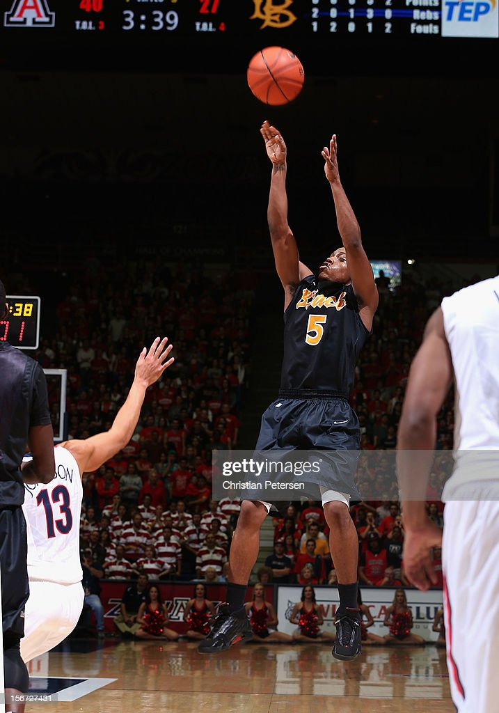Mike Caffey #5 of the Long Beach State 49ers puts up a shot against the Arizona Wildcats during the college basketball game at McKale Center on November 19, 2012 in Tucson, Arizona. The Wildcats defeated the 49ers 94-72.