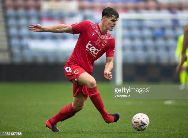 Mike Calveley of Chorley FC in action during the FA Cup 1st round match between Wigan Athletic and Chorley FC at the DW Stadium on November 8, 2020...