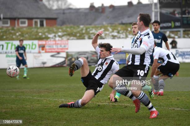Mike Calveley of Chorley FC scores their team's second goal during the FA Cup Third Round match between Chorley and Derby County at Victory Park on...