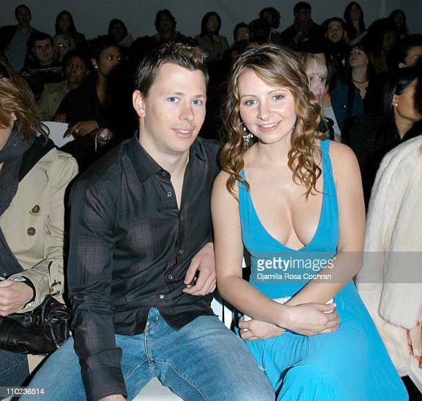 Mike Cameron and Beverley Mitchell during Olympus Fashion Week Fall 2005 Tracy Reese Front Row and Backstage at The Plaza Bryant Park in New York...