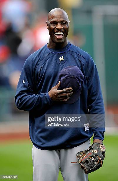 Mike Cameron of the Milwaukee Brewers laughs during batting practice before Game 2 of the NLDS Playoff against the Philadelphia Phillies at Citizens...
