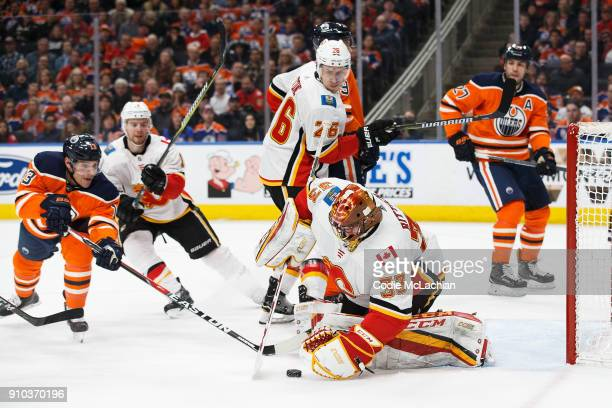 Mike Cammalleri of the Edmonton Oilers looks for an opening against goaltender David Rittich of the Calgary Flames at Rogers Place on January 25 2018...