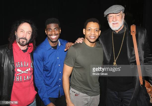Mike Campbell Jawan M Jackson Derrick Baskin and Mick Fleetwood pose backstage at the hit musical Ain't Too Proud on Broadway at The Imperial Theatre...
