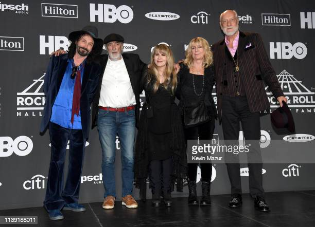 Mike Campbell John McVie inductee Stevie Nicks Christine McVie and Mick Fleetwood of Fleetwood Mac pose in the press room during attends the 2019...