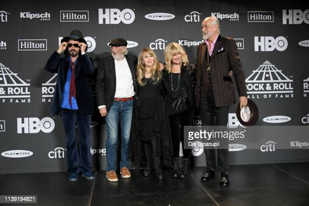 Mike Campbell, John McVie, inductee Stevie Nicks, Christine McVie and Mick Fleetwood of Fleetwood Mac pose in the press room during attends the 2019...