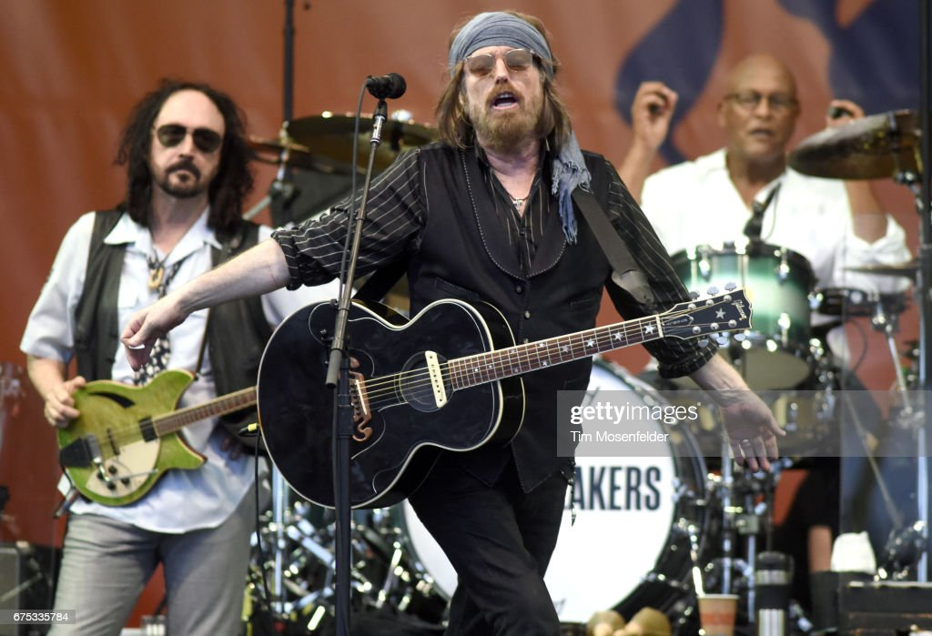 Mike Campbell, Tom Petty, and Steve Ferrone of Tom Petty and The Heartbreakers perform during the 2017 New Orleans Jazz & Heritage Festival at Fair Grounds Race Course on April 30, 2017 in New Orleans, Louisiana.