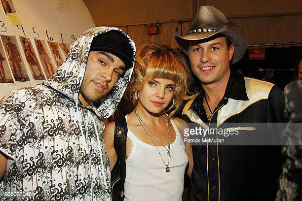 Mike Carrasco Mena Suvari and Traver Rains attend HEATHERETTE Spring 2007 Fashion Show at The Tent at Bryant Park on September 12 2006 in New York...