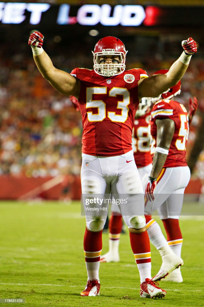 Mike Catapano #53 of the Kansas City Chiefs signals to the crowd to get loud during the final preseason game against the Green Bay Packers at Arrowhead Stadium on August 29, 2013 in Kansas CIty, Missouri.