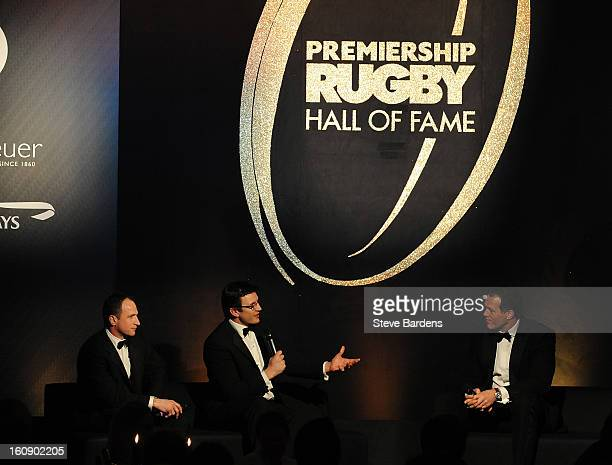 Mike Catt and Martin Corry talk to Martin Bayfield during the inaugural Premiership Rugby Hall of Fame Ball at the Hurlingham Club on February 7,...