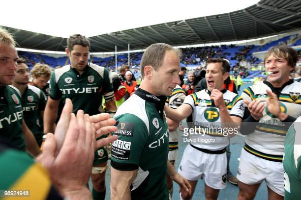 Mike Catt of London Irish after playing in his final game is applauded off the pitch after the Guinness Premiership match between London Irish and...