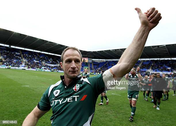 Mike Catt of London Irish waves to the crowd after his final match after the Guinness Premiership match between London Irish and Northampton Saints...