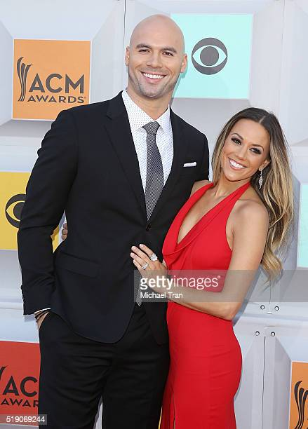 Mike Caussin and Jana Kramer arrive at the 51st Academy of Country Music Awards held at MGM Grand Garden Arena on April 3 2016 in Las Vegas Nevada