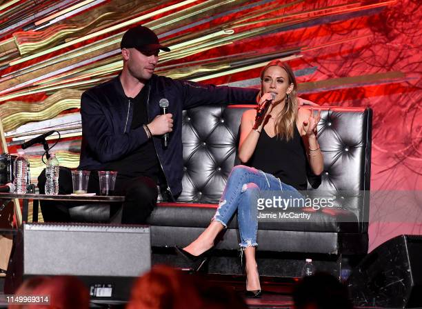 Mike Caussin and Jana Kramer speak onstage at Whine Down With Jana Kramer And Mike Caussin at Sony Hall on May 17 2019 in New York City