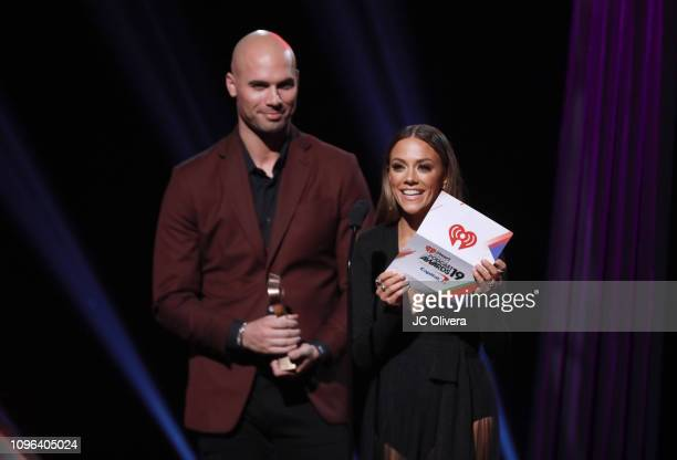 Mike Caussin and Jana Kramer speak onstage during the 2019 iHeartRadio Podcast Awards Presented By Capital One at iHeartRadio Theater on January 18,...