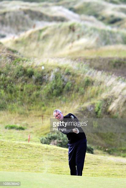 Mike Clayton of Australia in action during the second round of the Cleveland Golf Srixon Scottish Senior Open played on the Torrance Course at...