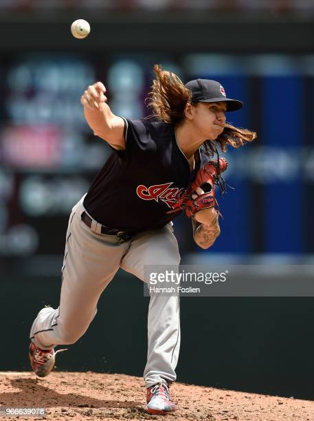 Mike Clevinger of the Cleveland Indians delivers a pitch against the Minnesota Twins during the second inning of the game on June 3 2018 at Target...