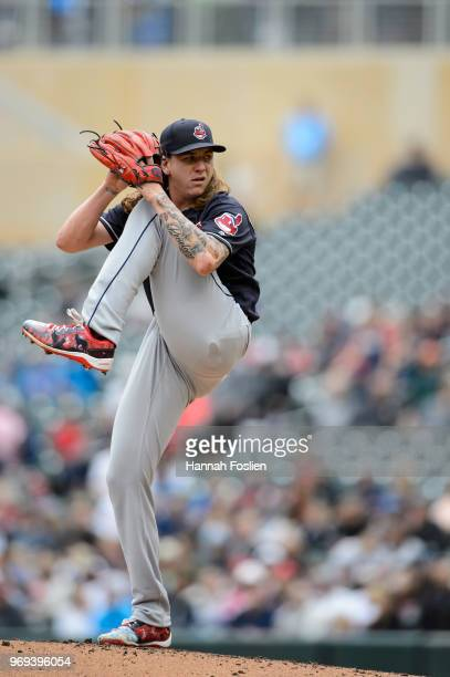 Mike Clevinger of the Cleveland Indians delivers a pitch against the Minnesota Twins during the game on June 3 2018 at Target Field in Minneapolis...