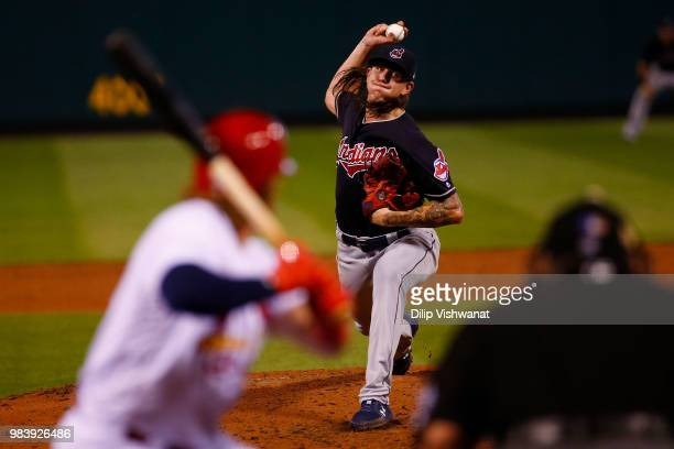 Mike Clevinger of the Cleveland Indians delivers a pitch against the St Louis Cardinals in the second inning at Busch Stadium on June 25 2018 in St...