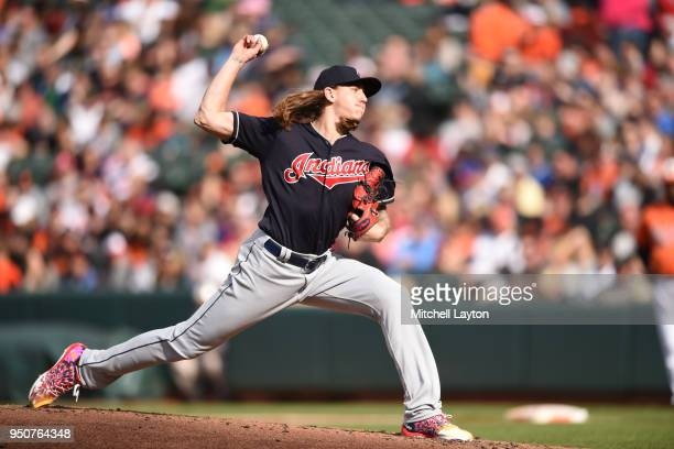 Mike Clevinger of the Cleveland Indians during a baseball game against the Baltimore Orioles at Oriole Park at Camden Yards on April 21 2018 in...