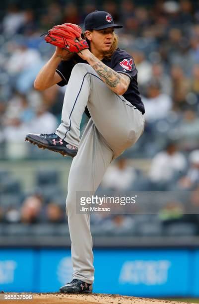 Mike Clevinger of the Cleveland Indians in action against the New York Yankees at Yankee Stadium on May 6 2018 in the Bronx borough of New York City...